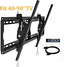 JUSTSTONE Tilting TV Wall Mount Bracket for Most 40-90 Inch Flat Panel Large Screen VESA UP to 800x400mm and Max Holding 165 lbs Low Profile and Level Adjustment Upgraded Version