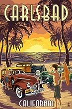 Carlsbad, California - Woodies on the Beach (9x12 Fine Art Print, Home Wall Decor Artwork Poster)