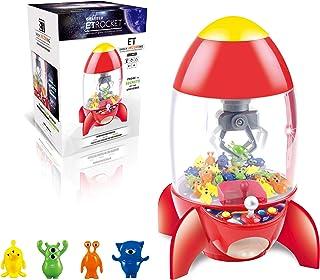 HOMCOM Candy Grabber fusée - Machine Attrape à Bonbons - Machine à Pince - Jeu de Griffe - 8 Figurines incluses - fête for...