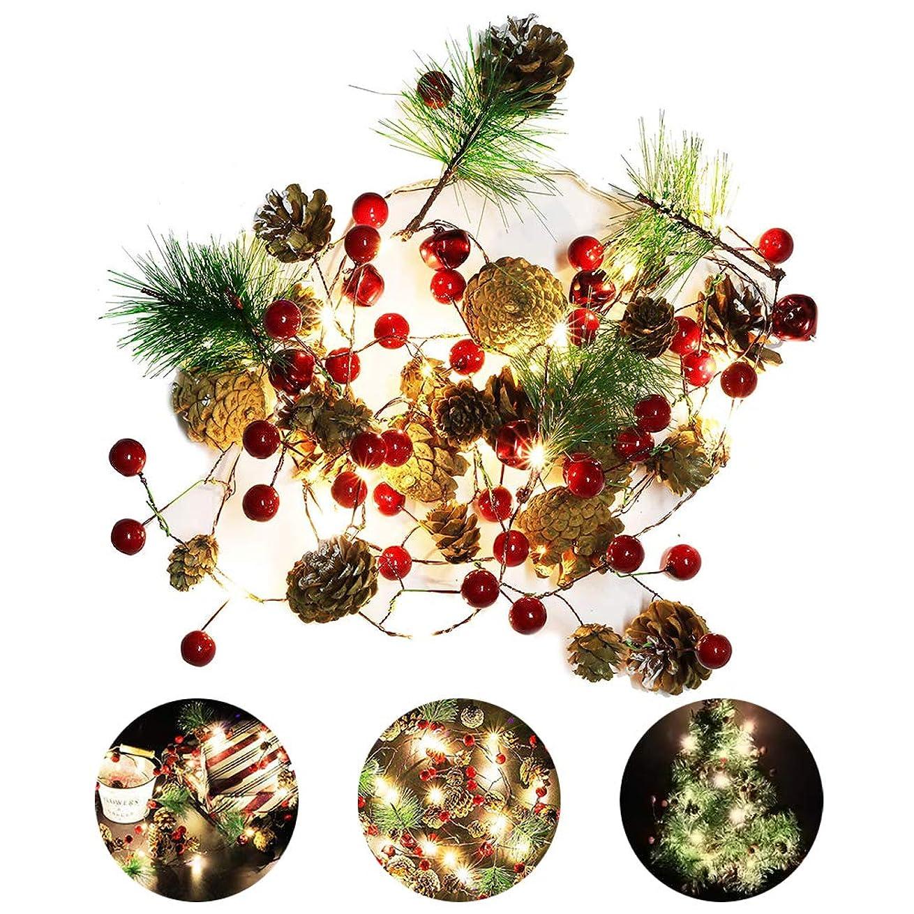洗う返還適度にCreacom クリスマス飾りライト クリスマスデコレーション クリスマスツリー 松ぼっくりストリングライト 20LED 松ぼっくりガーランドライト 赤ベリークリスマスツリ 装飾ランプ 電池式 自宅 屋内 屋外 ガーデンゲート用