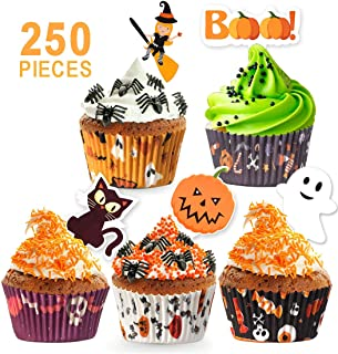 250 Pack Halloween Party Supplies Standard Paper Cupcake Case Liners Holders Toppers Wrappers Disposable Baking Cups Muffin Liners for Halloween Party Decoration