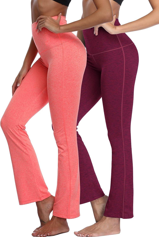 Neleus Womens Bootleg Yoga Pants Tummy Control High Waist Bootcut Pant