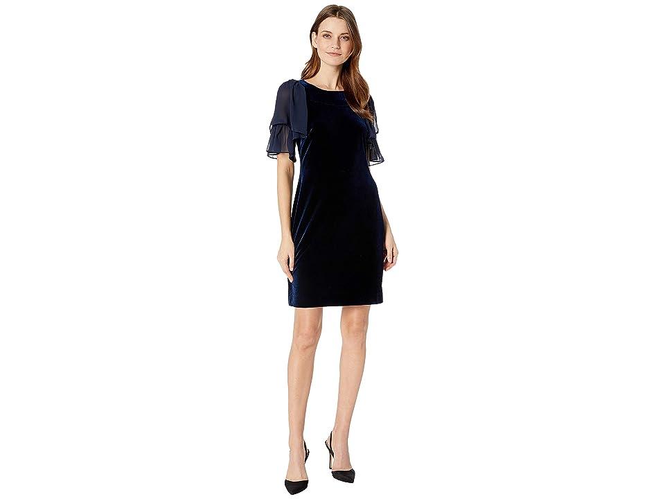 CHAPS Short Sleeve Velvet Dress (Navy Azure) Women