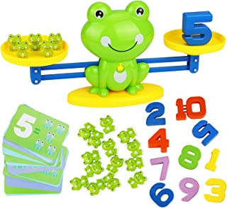 HOWADE Frog Balance Math Game,Frog Weighing Scale Montessori Educational Stem Digital Counting Toys for Kids Basic Math Le...