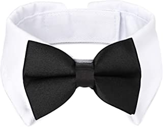 Segarty Black Bow Tie Dog Collar, Cute Tux Dog Bowtie with Handcrafted Adjustable White Collar Formal Pet Cats Puppies Nec...