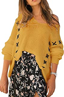 CHYRII Women's Sexy V Neck Criss Cross Lace Up Batwing Sleeve Oversized Sweaters