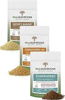 Real Mushroom Total Care Bundle - Lion's Mane + 5-Defender + Cordyceps-M Certified Organic Mushroom Powder for Immunity, P...