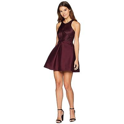 Halston Heritage Sleeveless High Neck Satin Stripe Dress (Syrah) Women