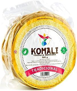 Tortilla aus Nixtamalisiertem Maismehl, Durchmesser 15cm, Herkunftsland EU, Pack mit 15-20 Einheiten - Tortilla KOMALI Tradicional Amarilla, 500g