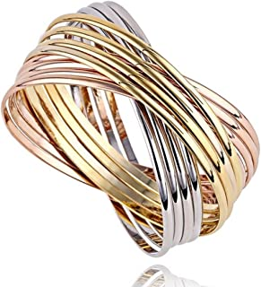 Stainless Steel Tri-Colored Set of 12 Gold Silver and Rose Gold Bracelet Bangle Set