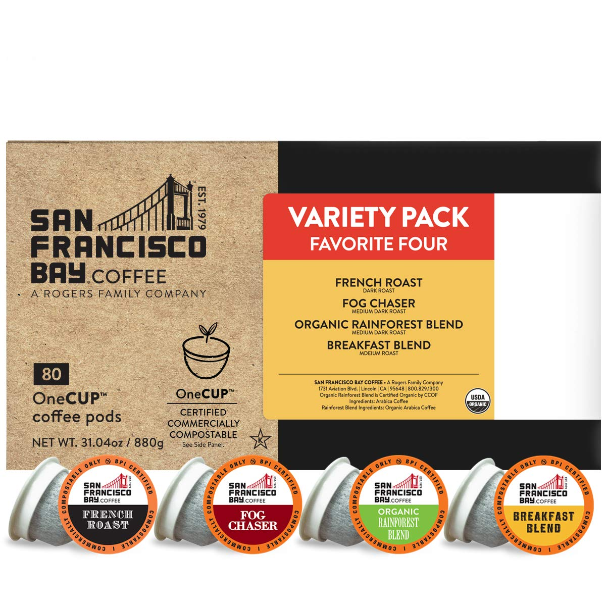 Sale item SF Bay Coffee OneCUP Variety Ct Pack Compostable Max 62% OFF Pods 80