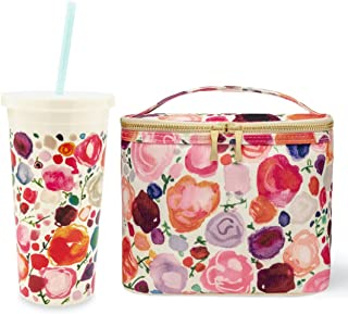 Kate Spade New York Women's Floral Collection Cute Insulated Canvas Lunch Bag Gold Zippers With 20 oz Acrylic Tumbler with Flexible Reusable Blue Straw Twist Top Double walled Leak Resistant Lid