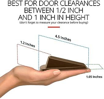 Classic Rubber Door Stopper Wedge – Sturdy and Stackable Door Stop, Multi Floor Doorstop Ensures Tight Fit for Gaps u...