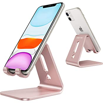 OMOTON Desktop Cell Phone Stand [Updated Solid Version], Advanced 4mm Thickness Aluminum Stand Holder for Switch, Mobile Phone, iPhone 11 Pro Xs Max Xr, Rose Gold