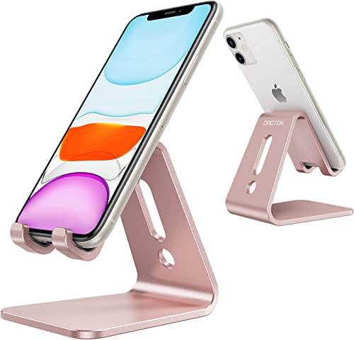 OMOTON Desktop Cell Phone Stand [Updated Solid Version], Advanced 4mm Thickness Aluminum Stand Holder for Switch, Mob...
