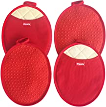 Honla 4 Piece Oval Pot Holders with Pockets,Heat Resistant to 500 F,Flexible Non Slip Silicone Grip Hot Pads,Red