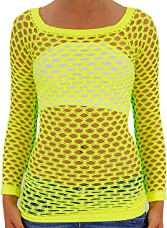 TD Women's Elastic Nylon-Spandex Long Sleeve Fishnet Layer Blouse Top
