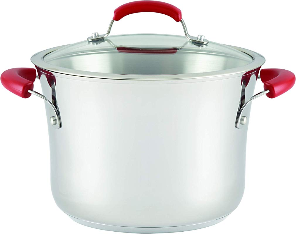 Rachael Ray 77451 Stainless Steel Nonstick Covered Stockpot 6 5 Quart Red Handles Medium