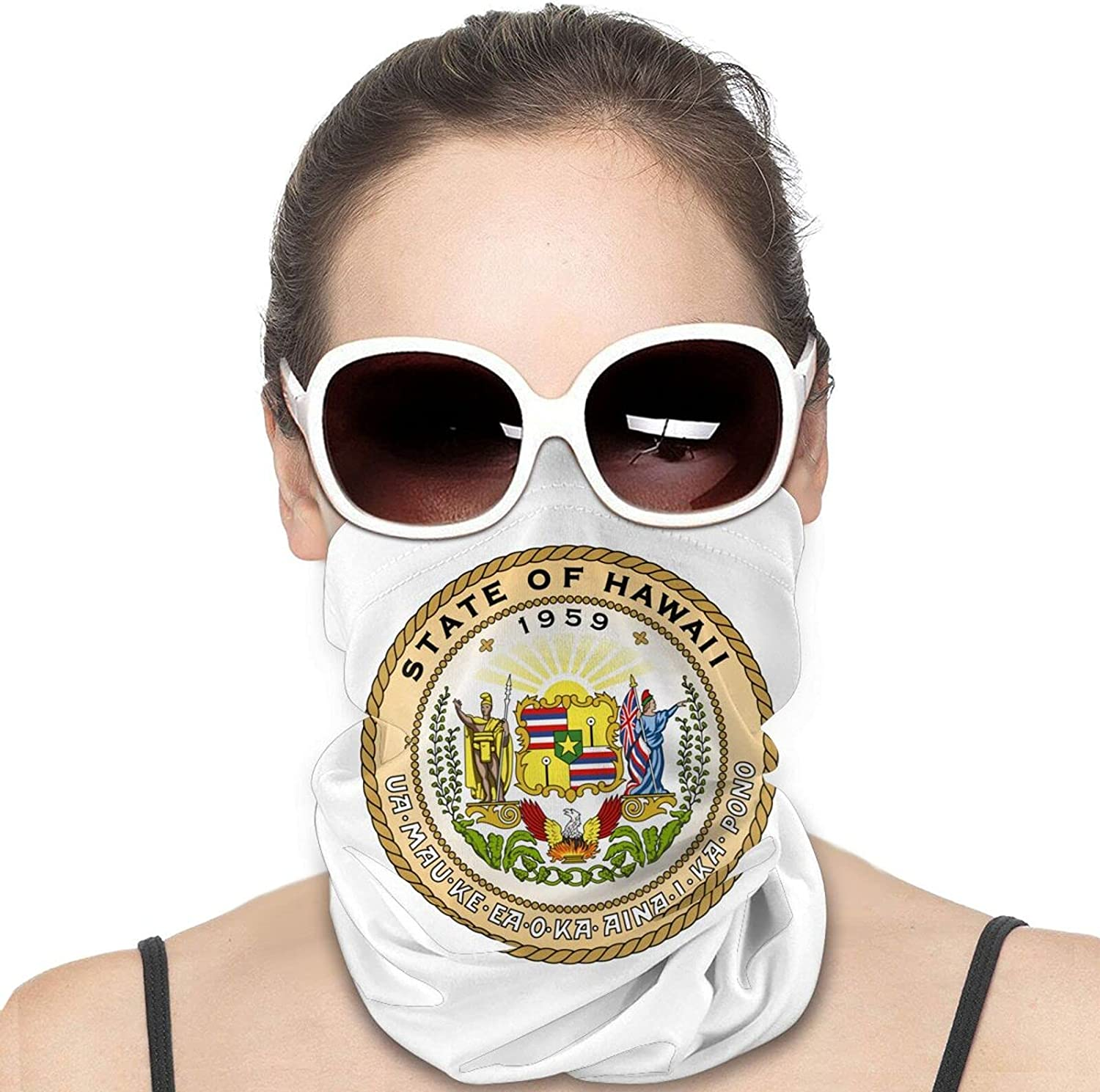 Seal of the State of Hawaii Round Neck Gaiter Bandnas Face Cover Uv Protection Prevent bask in Ice Scarf Headbands Perfect for Motorcycle Cycling Running Festival Raves Outdoors