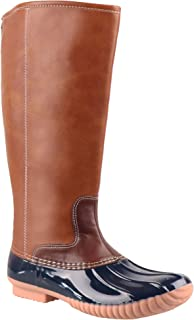 Women Whitley Cold Weather Leather Tall Duck Boots Plaid Lining Mid-Calf Rain Shoes Can Be Monogrammed