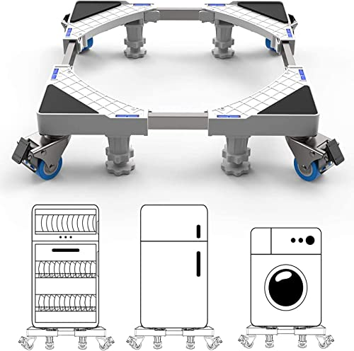 DEWEL Support de machine à laver avec 4 Roues et 4 Pieds Base de Réfrigérateur de sèche-linge Réglable 45cm-69cm Char...