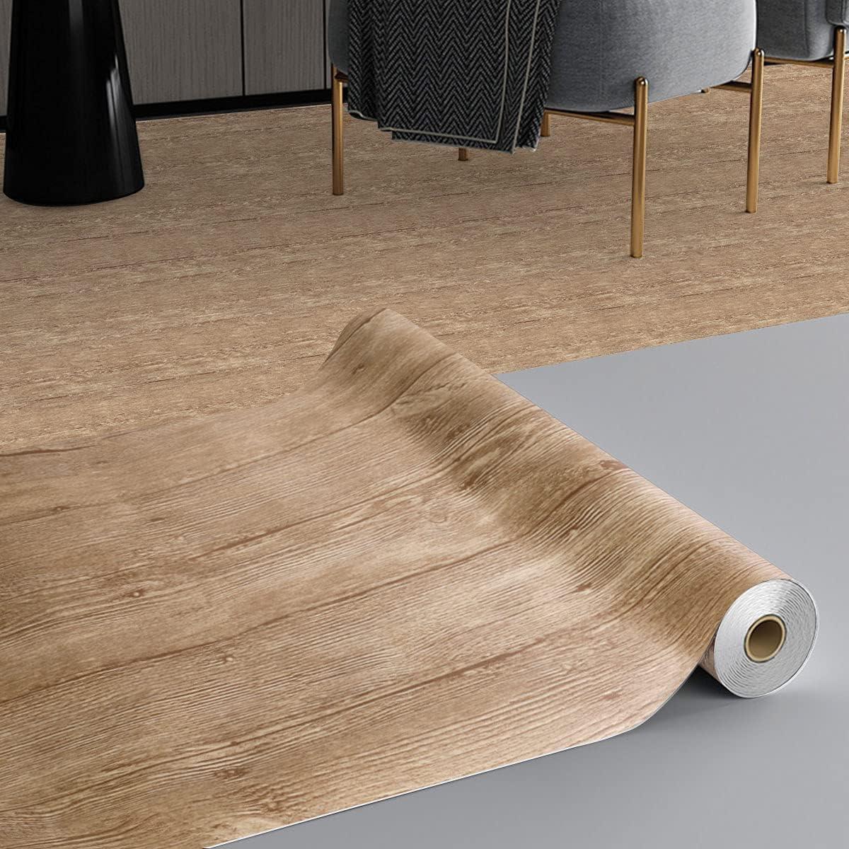 KINLO Revestimiento de suelo de PVC Baldosas autoadhesivas Suelo de vinilo resistente a la abrasión 3㎡ / rollo Película adhesiva aspecto baldosas, mate Lámina decorativa adhesiva (60x500 cm)