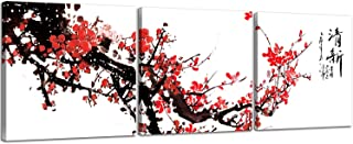 NAN Wind Small Size Traditional Chinese Painting of Red Plum Blossom Canvas Prints 3 Pcs Calligraphy Art Paintings Wall Art Poem Print Painting Framed 12x12inches 3pcs/Set