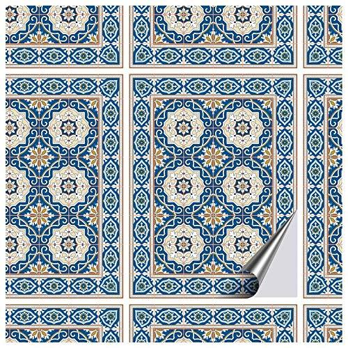FoLIESEN Fliesenaufkleber 15x20 cm - Fliesen-Folie Bad - Klebefolie Küche - 16 Klebefliesen, Orientalische Azulejos