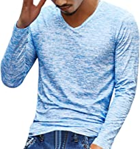 Realdo Men's Casual T-Shirt, Fashion Solid V Neck Long Sleeve Top Tee