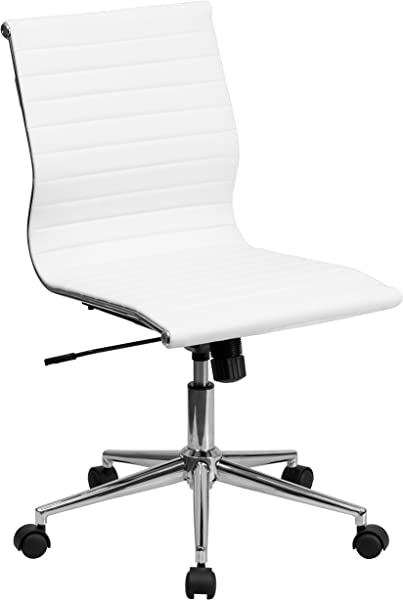 Flash Furniture Mid Back Armless White Ribbed Leather Swivel Conference Chair