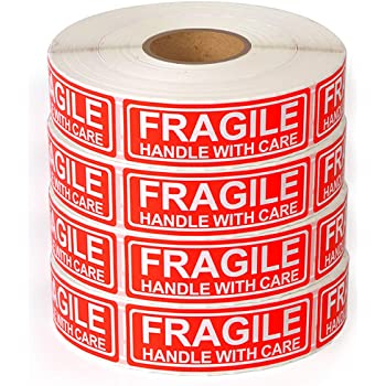 """[4 Rolls, 4000 Labels] Fragile - 1""""x3"""" Handle with Care Shipping Stickers, 1000 Labels Per Roll"""