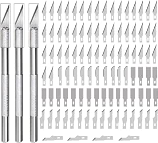 Nibro 103 PCS Precision Hobby Knife Carving Craft Knife Art Knife Stencil Knife with 3 Hobby Knife and 100 Spare Blades for DIY Art Work Cutting, Hobby Crafts, Scrapbooking, Stencil, Model