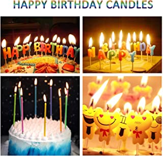 WanJ 28 Pcs Birthday Cake Candles - Incl 5 Emoji Birthday Candles | 10 Rainbow Colorful Candles | 13 Creative Birthday Candles [for Party, Wedding, Candlelight Dinner, Birthday Cake Decorations]