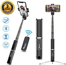 Selfie Stick Tripod, Aluminum Integrate Storage Design Phone Tripod with Bluetooth Wireless Remote - Compatible for iPhone X/Xs/XR/iPhone 8/iPhone 7/6 and All Android Phone (All Metal Selfie Stick)