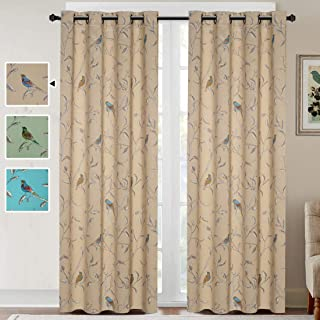 H.VERSAILTEX Blackout Grommet Curtains for Living Room Noise Reducing Thermal Insulated Window Curtain Drapes for Dining Room, Country Style Birds Taupe Pattern (2 Panels, 52 x 84 Each Panel)