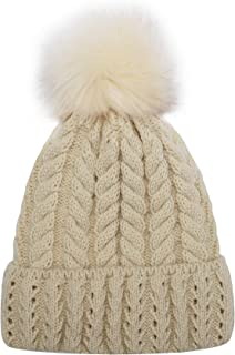 Women Knit Hat Winter Beanie with PomPom Slouchy Hats Skull Cap Thick Fleece Lining