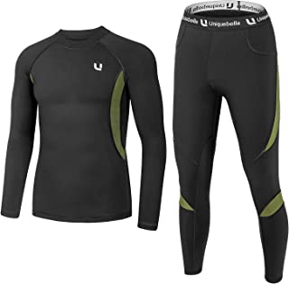 UNIQUEBELLA Men's Thermal Underwear Sets Top & Long Johns Fleece Sweat Quick Drying Thermo