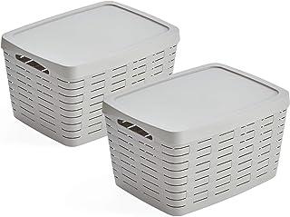 USE FAMILY Bamboo, paniers de rangement pour salle de bain, couvercle empilable, plastique recyclable (22 L, gris)
