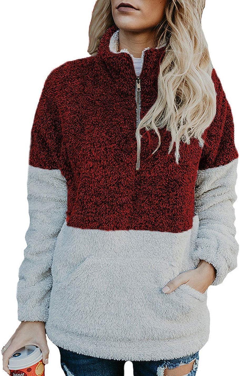 Flygo Women's Long Sleeve Zipper Sherpa Sweatshirt Soft Fleece Pullover Outerwear Coat