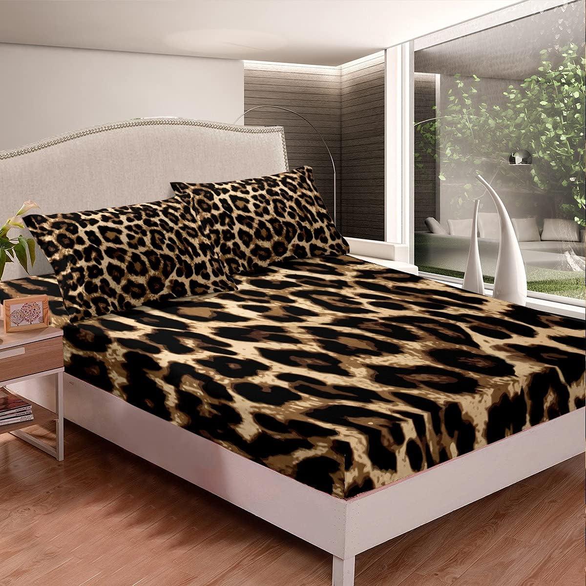 Erosebridal Leopard Print Fitted Sheet Leo Full Max 70% OFF Challenge the lowest price of Japan ☆ Size Brown Black