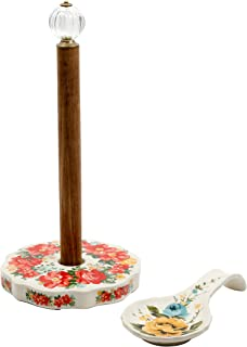 The Pioneer Woman Vintage Paper Towel Holder w/ Rose Shadow Spoon Rest