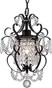 Riomasee Mini Chandelier Antique Bronze Chandeliers,1 Light Elegant Chandelier Crystal Iron Ceiling Light Fixture for Bedroom,Girls Room,Bathroom