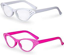 Big Mo's Toys لباس صورتی و سفید گربه چشم یکپارچهسازی با سیستمعامل لباس لباس شیشه ای هیپ هاپ بدلیجات (2 بسته)