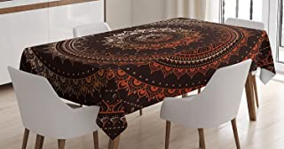 Mandala Decor Tablecloth by Ambesonne, Ancient Enclosing Magic Circle Middle Eastern Egyptian Folk Culture Pattern, Dining Room Kitchen Rectangular Table Cover, 60 X 84 Inches, Brown Orange