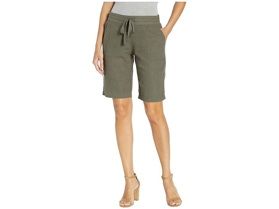 Per Se 11 Bermuda Shorts White Knit Waistband (Olive) Women's Shorts