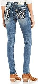 Women's Flower Wing Faux Flap Pocket Skinny Jeans