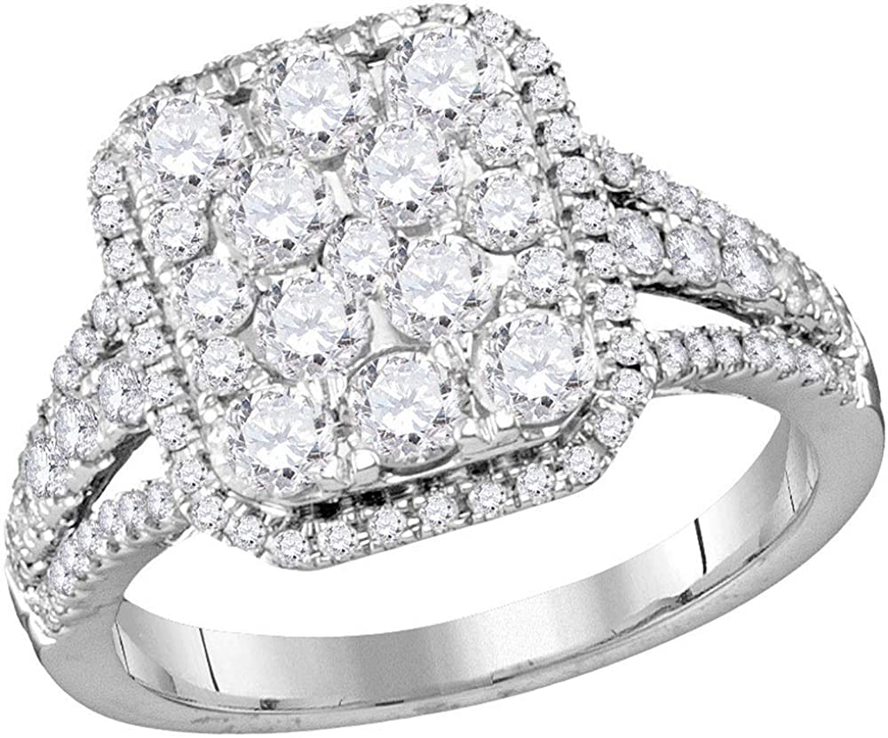 Jewels By Lux Virginia Beach Mall 14kt White Gold Womens outlet Diamond Brida Round Emerald