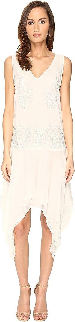 Sleeveless V-Neck Embroidered Handkerchief Hem Dress