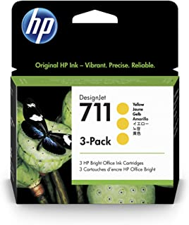HP 711 CZ136A 3-Pack Yellow 29-ml Genuine HP Ink Cartridge with Original HP Ink, for HP DesignJet T120, T125, T130, T520, ...