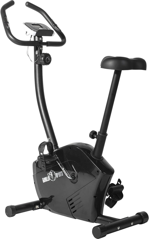 GORILLA SPORTS Ergometer Bike mit Trainingscomputer und Pulsmesser - Heimtrainer Fahrrad bis 100 kg belastbar Schwarz